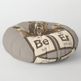 Funny chemistry bear discovered beer Floor Pillow