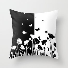 POPPIES AND BUTTERFLIES Throw Pillow