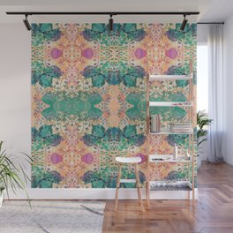 Spring Chinoiserie Stencil Print in Garden Green & Papaya Orange | Delicate Floral Asian Inspired Stencil Design Wall Mural