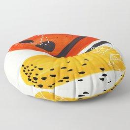 Fun Mid Century Modern Abstract Minimalist Vintage Orange Yellow Orbit Bubbles Floor Pillow