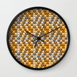 Skull Orange Black Halloween Print Wall Clock