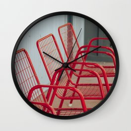 Red Chairs Wall Clock