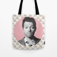 castiel Tote Bags featuring CASTIEL by Hands in the Sky