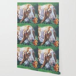 Beautiful Basset Hound dog portrait art an original painting by L.A.Shepard Wallpaper
