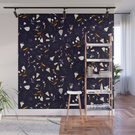 Small flowers on dark background Wall Mural