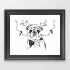 Jingle Pug Framed Art Print