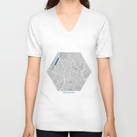 brussels V-neck T-shirts featuring Brussels city map grey colour by MCartography