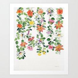 Flowers and Eucalyptus Garland Art Print