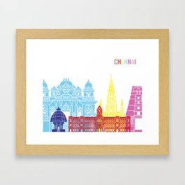 Chennai skyline pop Framed Art Print