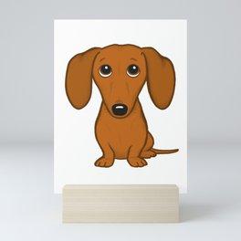 Cute Dachshund | Cartoon Wiener Dog Mini Art Print