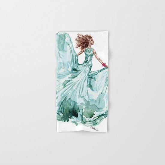 Fashion Blue Turquoise Teal Dress Girl Hand & Bath Towel