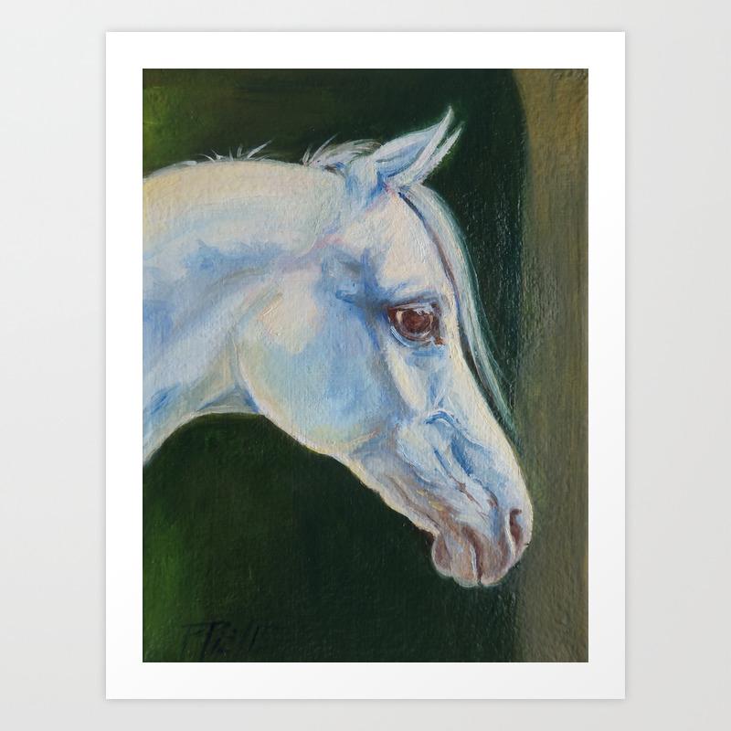 White Arabian Horse Portrait Arab Horse Painting Art Print By Canisart Society6