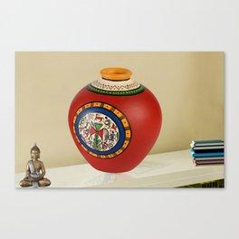 ExclusiveLane Terracotta Handpainted Warli Vase Matki Red 6 Inch Canvas Print