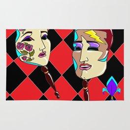 Two Masquerade Faces Rug