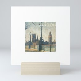 London Vintage skyline view of Westminster Abbey and Big Ben, painting from Victorian era Mini Art Print