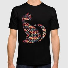 The Pattern Cat Mens Fitted Tee Black MEDIUM