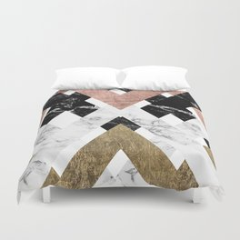 Modern geometric chevron black white marble rose gold foil gold triangles pattern Duvet Cover