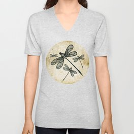 Dragonflies on tan texture Unisex V-Neck