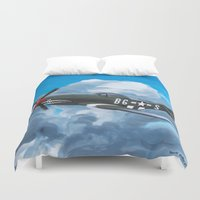milwaukee Duvet Covers featuring P51 Mustang- Milwaukee style by Hatton Custom Design