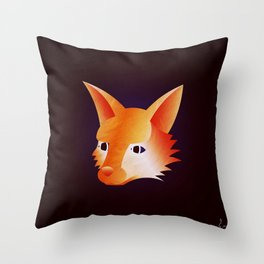 Red Little Fox Throw Pillow