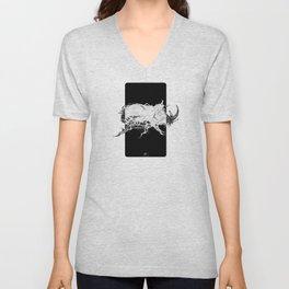 Beetle 1.  White on black background. Unisex V-Neck
