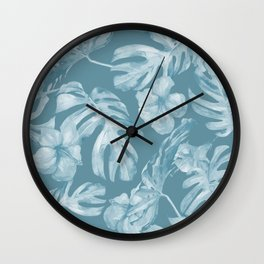 Tropical Escape Teal Blue Leaves + Hibiscus Wall Clock