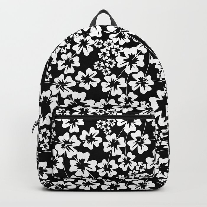 Floral black and white pattern Backpack