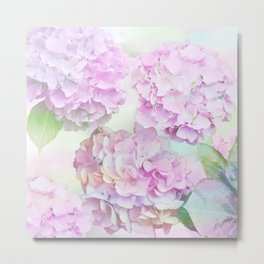 Painterly Hydrangea flowers on a pastel background Metal Print