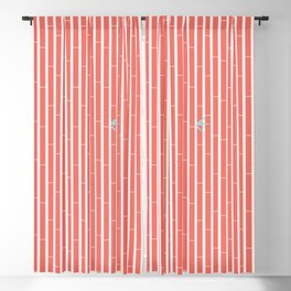 Bamboo Pattern ~ coral red Blackout Curtain