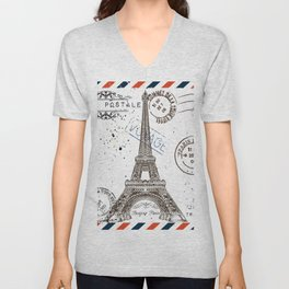 Art hand drawn design with Eifel tower. Old postcard style Unisex V-Neck