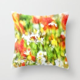 The Colors Of Spring On A Sunny Day Watercolor Throw Pillow