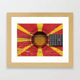 Old Vintage Acoustic Guitar with Macedonian Flag Framed Art Print