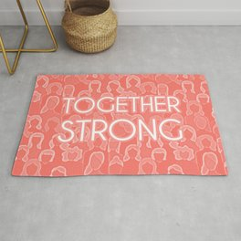 Together Strong - Woman Power Typography Living Coral Rug