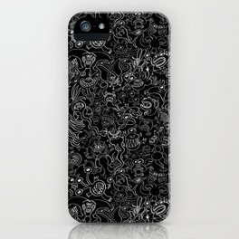 Crazy monsters in a crowded pattern iPhone Case
