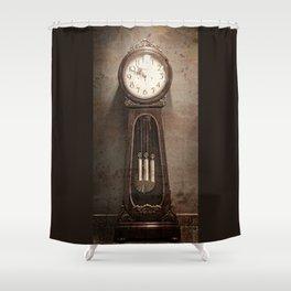 Grandfather Clock, Grunge, Vintage, Antique Look Shower Curtain