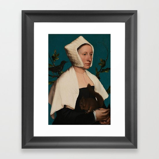 PORTRAIT OF A LADY WITH A SQUIRREL AND A STARLING - HANS HOLBEIN by iconicpaintings