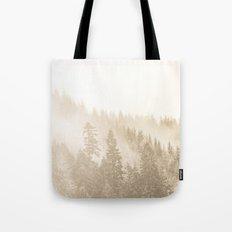 Fog Forest - Vintage Sepia Foggy Fir Trees Tote Bag