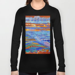 Mondrian View from the Dunes with Beach and Piers, Domburg Long Sleeve T-shirt