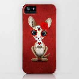 Red Day of the Dead Sugar Skull Baby Kangaroo iPhone Case