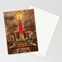 Kazakhstan Bayterek Tower Artistic Illustration Sparkle Style Stationery Cards