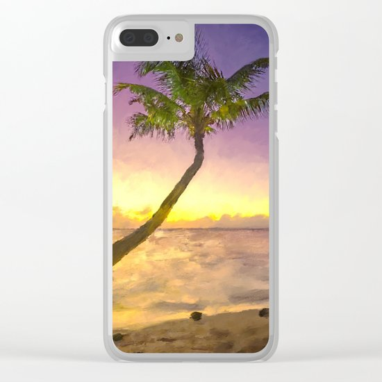 Tropical sunset beach with palms Clear iPhone Case