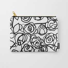 Bold Black Rose Print Carry-All Pouch