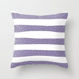 Christmas Simple seamless pattern Snow confetti on White and Purple Stripes Background Throw Pillow