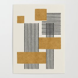 Stripes and Square Composition - Abstract Poster