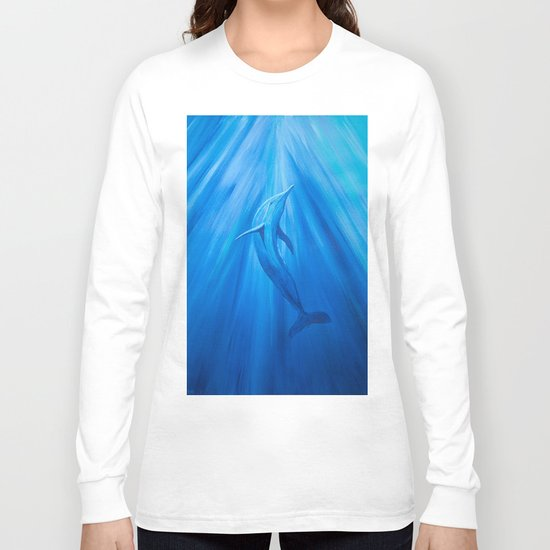 Dolphin in blue Long Sleeve T-shirt