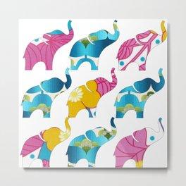 Vintage Pink Floral & Blue Elephant Print Metal Print