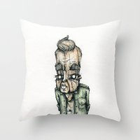 the dude Throw Pillows featuring Dude by Jans Wurst