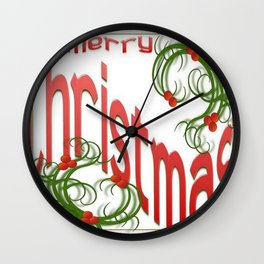 Merry Christmas With Stylized Holly With White Background  Wall Clock