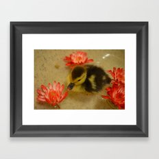 Ducky in the Flowers Framed Art Print
