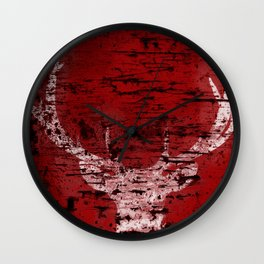 Industrial White Deer Silhouette on Red A313 Wall Clock
